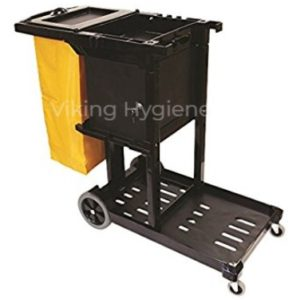 Janitor Cart Black With Covered Locking Cabinet & Yellow Vinyl Bag – 5210006