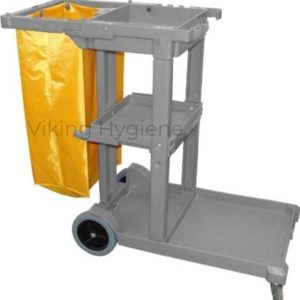 Janitor Cart – Grey With Yellow Vinyl Bag – 5210007